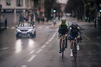 Julian Alaphilippe (FRA/Quick-Step Floors) & Roman Kreuziger (CZE/Michelton-Scott) riding to the finish together<br /> <br /> 76th Paris-Nice 2018<br /> Stage 8: Nice > Nice (110km)