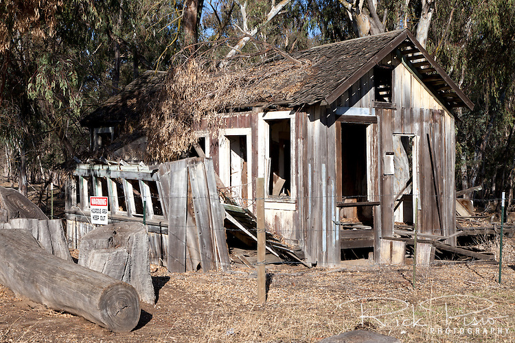Abandoned miners cabin at the Tuolumne Gold Dredge Co. site near La Grange, California