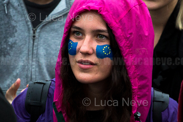 London, 28/06/2016. Today, around 5PM, thousands of members of the public gathered in Trafalgar Square under rain showers to protest against the EU Referendum result which is leading the United Kingdom to the so called &quot;Brexit&quot;, in other words to leave the European Union. Around 7:30PM, people started to march spontaneously and peacefully towards Parliament Square. The demonstration ended around 9:30PM in College Green, a little park outside the Houses of Parliament where all the major media set up their portable studios and where politicians, analysts, commentators, experts and others give interviews about the outcome of the recent Referendum, the fallout and to try to forecast the future. While reported on the Channel 4 news that most protestors were 18+ (Which you can find here: https://www.facebook.com/Channel4News/videos/10153853076771939/ ), this was not actually the case. Protestors of all ages were present in significant numbers representing all the generations of the population. Previously, another planned demonstration called &quot;Stand Together: London event&quot; was cancelled &lt;&lt; [&hellip;] on safety grounds after an &quot;unprecedented&quot; response from Londoners. More than 50,000 people were expected to attend a London Stays rally this evening to show that &quot;London stands with Europe&quot;. But organisers today confirmed the protest was cancelled due to safety concerns. City Hall also said the protest had been blocked because the number of people who were planning to attend exceeded Trafalgar Square's safe limit by 40,000. [&hellip;]&gt;&gt; (From the Evening Standard, 28 June 2016, http://www.standard.co.uk/news/london/trafalagar-square-proremain-rally-cancelled-for-safety-reasons-after-more-than-50000-people-sign-up-a3283086.html ).<br />