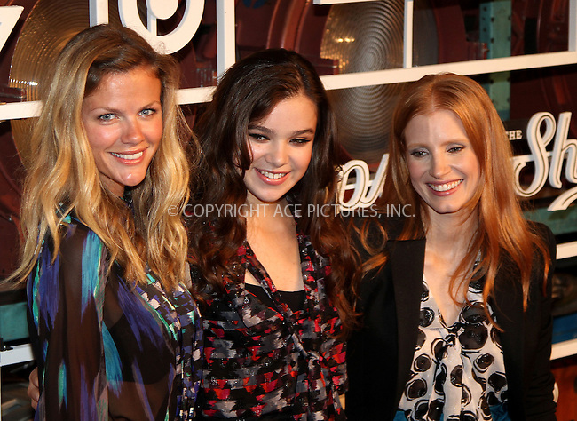 WWW.ACEPIXS.COM....September 5 2012, New York City.... (L-R) Actresses Brooklyn Decker, Jessica Chastain and Hailee Steinfeld at The Fall Installment Of The Shops At Target at Highline Stages on September 5, 2012 in New York City.....By Line: Zelig Shaul/ACE Pictures......ACE Pictures, Inc...tel: 646 769 0430..Email: info@acepixs.com..www.acepixs.com