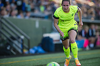 Seattle, WA - Sunday, April 17, 2016: Seattle Reign FC forward Manon Melis (14) drives up the right flank during the second half of the match. Sky Blue FC defeated the Seattle Reign FC 2-1 during a National Women's Soccer League (NWSL) match at Memorial Stadium.