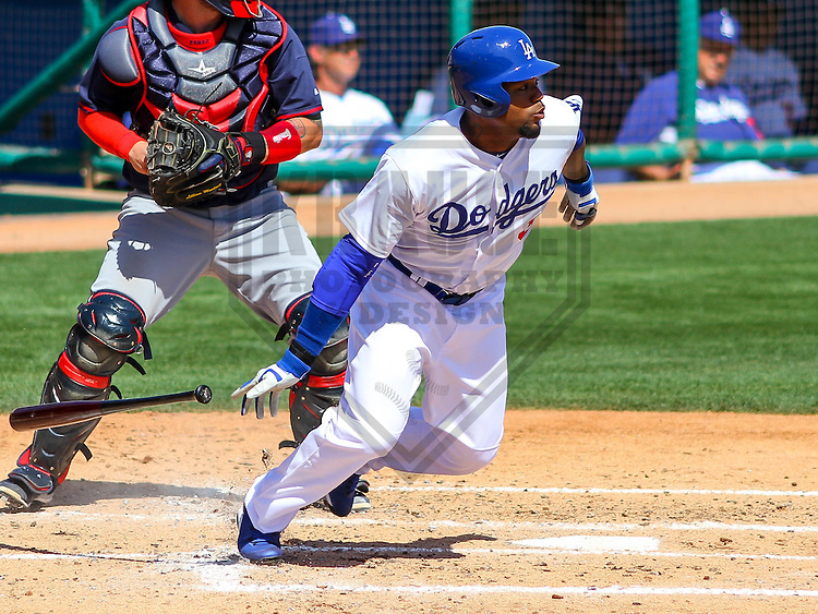 GLENDALE - March 2015: Carl Crawford (3) of the Los Angeles Dodgers during a spring training game against the Cleveland Indians on March 17th, 2015 at Camelback Ranch in Glendale, Arizona. (Photo Credit: Brad Krause)