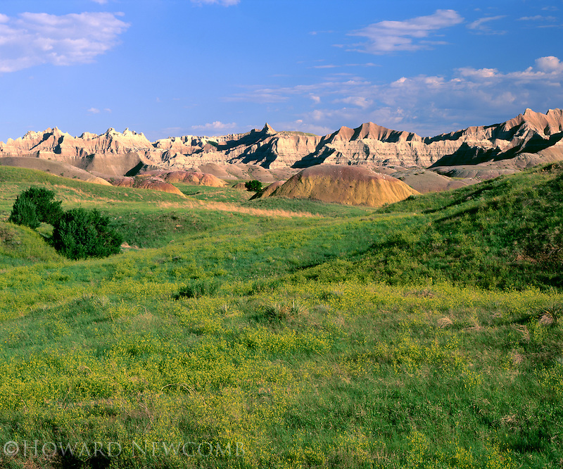 Rolling prairie meets the rugged terrain of the Badlands National Park, South Dakota.