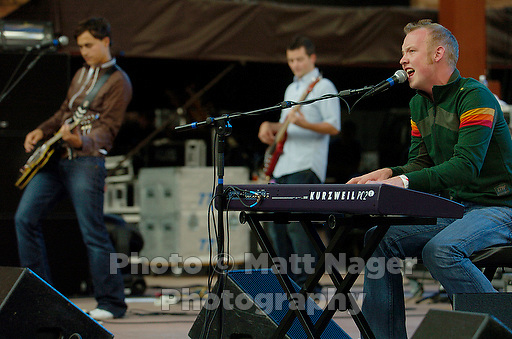 The Fray plays at Red Rocks Amphitheater near Morrison, Colo., Friday, Aug. 12, 2005. Vocals and piano Isaac Slade(cq), front middle, drummer Ben Wysocki(cq), Guitarist Joe King(cq), second left,  bassist Jimmy Stofer(cq), far left, and guitarist Dave Welsch(cq), far right...PHOTOS/ MATT NAGER