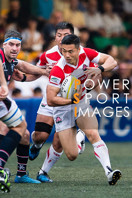 Akihito Yamada of Japan (R) in action during the Asia Rugby Championship 2017 match between Hong Kong and Japan on May 13, 2017 in Hong Kong, China. Photo by Marcio Rodrigo Machado / Power Sport Images