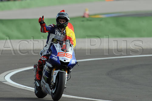 10.11.2013. Jorge Lorenzo (Yamaha Factory Racing) during the race at Ricardo Tormo circuit in Valencia