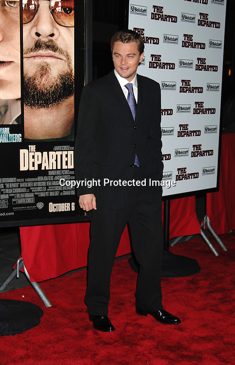 "Leonardo DiCaprio..arriving at The New York Premiere of "" The Departed"" ..directed by Martin Scorsese and starring Leonardo DiCaprio, Jack Nicholson, Matt Damon and Mark Wahlberg..on September 26, 2006 at The Ziegfeld Theatre...Robin Platzer, Twin Images"