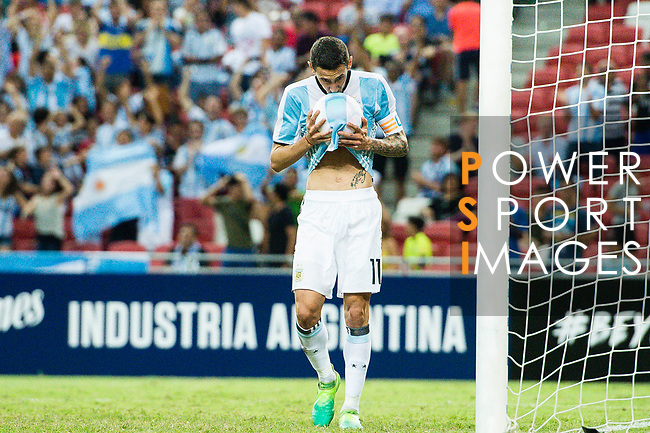 Angel Di Maria of Argentina celebrates after scoring his goal during the International Test match between Argentina and Singapore at National Stadium on June 13, 2017 in Singapore. Photo by Marcio Rodrigo Machado / Power Sport Images