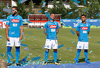 Leonardo Pavoletti Dries Mertens  and Lorenzo Insigne of SSC Napoli<br />  wear a new home jersey during a preseason training camp in Dimaro Italy 11 jul 2017 Photo: Ciro De Luca SilverHub  +39 02 43998577 sales@silverhubmedia.it