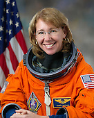 Individual portrait of STS-135 mission specialist Sandy Magnus in Advanced Crew Escape Suit (ACES) taken in Houston, Texas on February 11, 2011.  STS-135, the last space shuttle mission, is scheduled for launch on Friday, July 8, 2011..Mandatory Credit: Bill Stafford / NASA via CNP