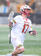 College Park, MD - April 15, 2018: Maryland Terrapins Austin Henningsen (17) runs with the ball during game between Rutgers and Maryland at  Capital One Field at Maryland Stadium in College Park, MD.  (Photo by Elliott Brown/Media Images International)