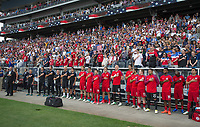 Commerce City, CO - Thursday June 08, 2017: USMNT bench, national anthem during a 2018 FIFA World Cup Qualifying Final Round match between the men's national teams of the United States (USA) and Trinidad and Tobago (TRI) at Dick's Sporting Goods Park.