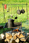 Heritage Days Festival. Union County. Union army cooking equipment and open fire.