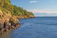 WASJ_D149 - USA, Washington, San Juan Island, Pacific madrone and Douglas fir grow above rocky shoreline along Haro Strait at San Juan County Park; Olympic Mountains rise in the distance.