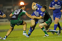 19th September 2014; <br /> Leinster's Eoin Reddan is tackled by Robbie Henshaw and Aly Muldowney of Connacht.<br /> Guinness PRO12, Connacht v Leinster . <br /> The Sportsground, Galway. <br /> Picture credit: Tommy Grealy/actionshots.ie