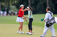 Rose Zhang (USA) and Zoe Campos (USA) during the final  round at the Augusta National Womans Amateur 2019, Augusta National, Augusta, Georgia, USA. 06/04/2019.<br /> Picture Fran Caffrey / Golffile.ie<br /> <br /> All photo usage must carry mandatory copyright credit (&copy; Golffile | Fran Caffrey)