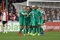 Watford celebrate their first goal scored by Will Hughes during Woking vs Watford, Emirates FA Cup Football at The Laithwaite Community Stadium on 6th January 2019
