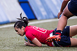 Joyce Chui of Hong Kong runs in a try during the Asia Rugby U20 Sevens 2017 at King's Park Sports Ground on August 4, 2017 in Hong Kong, China. Photo by Yu Chun Christopher Wong / Power Sport Images