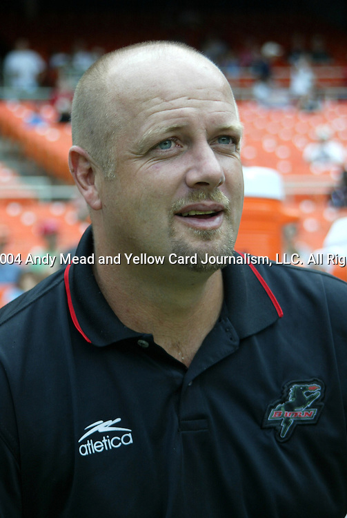 11 September 2004: Burn head coach Colin Clarke. DC United defeated the Dallas Burn 3-0 at RFK Stadium in Washington, DC during a regular season Major League Soccer game..