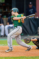 Andrew Burgesser #8 of the Central Cabarrus Vikings follows through on his swing against the Northwest Cabarrus Trojans on April 30, 2012 in Kannapolis, North Carolina.  The Trojans defeated the Vikings 8-2.  (Brian Westerholt/Four Seam Images)