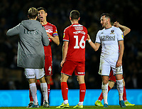Middlesbrough's Daniel Ayala has words with Leeds United's Patrick Bamford after the match<br /> <br /> Photographer Alex Dodd/CameraSport<br /> <br /> The EFL Sky Bet Championship - Leeds United v Middlesbrough - Saturday 30th November 2019 - Elland Road - Leeds<br /> <br /> World Copyright © 2019 CameraSport. All rights reserved. 43 Linden Ave. Countesthorpe. Leicester. England. LE8 5PG - Tel: +44 (0) 116 277 4147 - admin@camerasport.com - www.camerasport.com