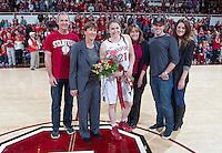Stanford senior  Sara James, celebrates after the Stanford women's basketball  vs Washington State at Maples Pavilion, Stanford, California on March 1, 2014.
