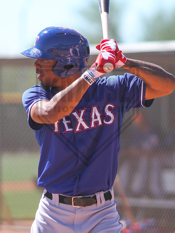 SURPRISE - March 2015: Nick Williams of the Texas Rangers during a spring training workout on March 15th, 2015 at Surprise Recreation Campus in Surprise, Arizona. (Photo Credit: Brad Krause)
