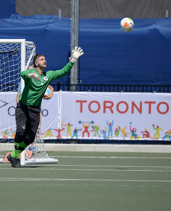Toronto, ON - Aug 9 2015 -  Damien Wojtiw prepares to make a save during Canada vs United States in Football 7-a-side at the Parapan Am Fields during the Toronto 2015 Parapan American Games  (Photo: Matthew Murnaghan/Canadian Paralympic Committee)