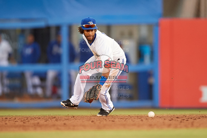 Dunedin Blue Jays second baseman Ivan Castillo (1) fields a ground ball during a game against the Fort Myers Miracle on April 17, 2018 at Dunedin Stadium in Dunedin, Florida.  Dunedin defeated Fort Myers 5-2.  (Mike Janes/Four Seam Images)