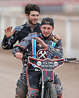 Ben Morley and Alfie Bowtell of Lakeside Hammers on the victory lap<br /> <br /> Photographer Rob Newell/CameraSport<br /> <br /> National League Speedway - Lakeside Hammers v Eastbourne Eagles - Lee Richardson Memorial Trophy, First Leg - Friday 14th April 2017 - The Arena Essex Raceway - Thurrock, Essex<br /> &copy; CameraSport - 43 Linden Ave. Countesthorpe. Leicester. England. LE8 5PG - Tel: +44 (0) 116 277 4147 - admin@camerasport.com - www.camerasport.com
