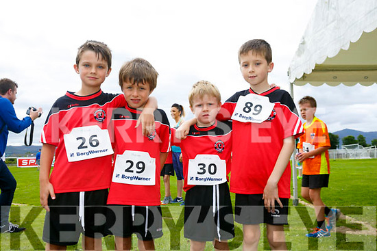 Enjoying the St Brendan's Park FC  5K run and family fun day at Christy Leahy Park on Sunday were Rian McEvoy, Dylan McEvoy, Jamie McEvoy and Dean Courtney