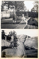 BNPS.co.uk (01202 558833)<br /> Pic: BlenheimPalace/BNPS<br /> <br /> Snapshot from Gladys Deacons photo album shows her portrait head placed on a pair of Sphinx statues in the formal gardens.<br /> <br /> Let's Misbehave - A fascinating insight into the heady world of the upper classes in the roaring twenties has opened at Blenheim Palace.<br /> <br /> The 9th Duke of Marlborough and his second wife, American intellectual Gladys Deacon, were lavish hosts at the baroque Oxfordshire Palace.<br /> <br /> Their frequent house parties in a time of great social, artistic and political change were attended by friends as diverse as Winston Churchill, Edith Sitwell, Jacob Epstein and Bloomsbury set founders Lytton Strachey and Virginia Woolf.<br /> <br /> The exhibition showcases their lavish lifestyles in a series of scenes within the Palaces elegant State Rooms.<br /> <br /> Actors portraying the leading characters interact with the visiting public to give a flavour of the famously decadent decade.