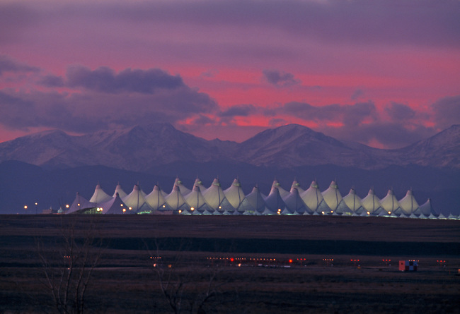 Sunset sky over the Front Range of the Rocky Mountains above Denver Internat'l Airport (DIA), Denver, CO
