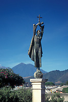 Statue of Saint James or Santiago at the entrance to the Spanish Colonial city of Antigua, Guatemala