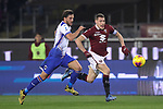 Bartosz Bereszynski of Sampdoria and Andrea Belotti of Torino FC race for the ball during the Serie A match at Stadio Grande Torino, Turin. Picture date: 8th February 2020. Picture credit should read: Jonathan Moscrop/Sportimage
