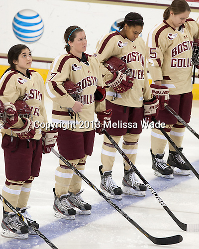 Dana Trivigno (BC - 8), Dru Burns (BC - 7), Kaliya Johnson (BC - 6), Alex Carpenter (BC - 5) - The Boston College Eagles defeated the visiting Harvard University Crimson 3-1 in their NCAA quarterfinal matchup on Saturday, March 16, 2013, at Kelley Rink in Conte Forum in Chestnut Hill, Massachusetts.