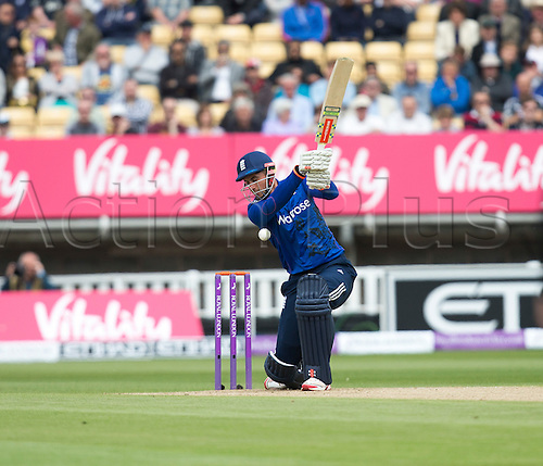 09.06.2015.  Birmingham, England. T20 One Day International. England versus New Zealand. Alex Hales of England watches as the ball bounces up of his bat.
