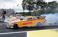 Jun. 1, 2012; Englishtown, NJ, USA: NHRA funny car driver Jeff Arend during qualifying for the Supernationals at Raceway Park. Mandatory Credit: Mark J. Rebilas-