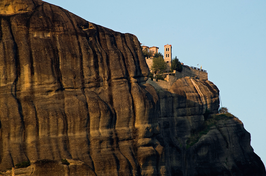 Greece, Meteora, Varlaam Monastery in sunset