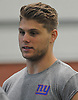 Connor Davis, an undrafted free agent out of Stony Brook University, speaks with a reporter during the second day of New York Giants Rookie Minicamp held at Quest Diagnostics Training Center in East Rutherford, NJ on Saturday, May 12, 2018.