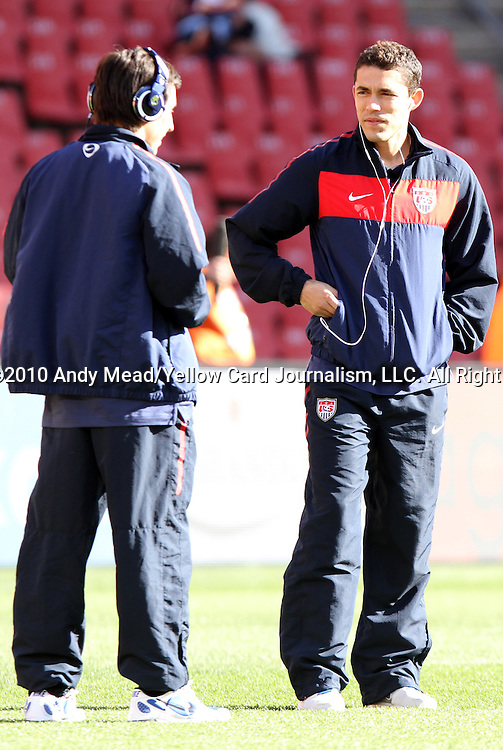18 JUN 2010: Herculez Gomez (USA) (right) and Jose Torres (USA) (left). The Slovenia National Team played the United States National Team to a 2-2 at Ellis Park Stadium in Johannesburg, South Africa in a 2010 FIFA World Cup Group C match.