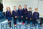Ballyduff NS students Ruby O'Connor, Clodagh O'Sullivan, Shannon O'Connor, Grace O'Rourke, Ryan and Rory O'Sullivan at the Scríobh Leabhar competition held in the Tralee Education Centre on Monday.
