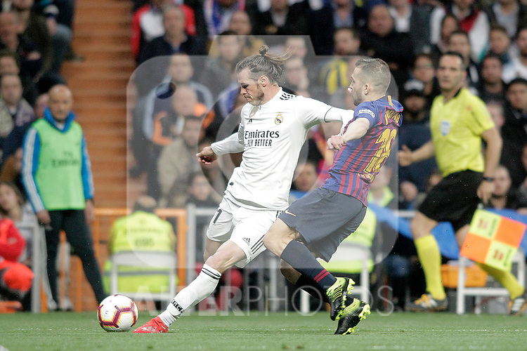 Real Madrid CF's Gareth Bale and FC Barcelona's Jordi Alba during La Liga match. March 02,2019. (ALTERPHOTOS/Alconada)