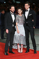 From left, Drake Doremus, Kristen Stewart and Nicholas Hoult  attend the red carpet for the premiere of the movie 'Equals' during 72nd Venice Film Festival at Palazzo Del Cinema in Venice, Italy, September 5.<br /> UPDATE IMAGES PRESS/Stephen Richie