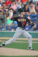 Konner Wade (48) of the Modesto Nuts pitches during a game against the Rancho Cucamonga Quakes at LoanMart Field on May 39, 2015 in Rancho Cucamonga, California. Rancho Cucamonga defeated Modesto, 13-2. (Larry Goren/Four Seam Images)