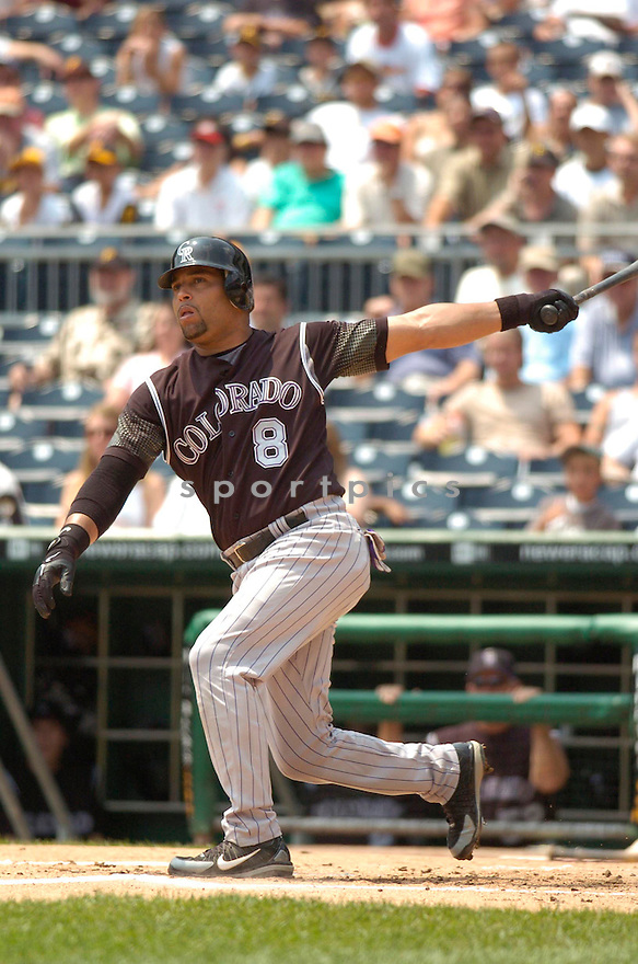 Yorvit Torrealba, of the Colorado Rockies, in action against the Pittsburgh Pirates on July 19, 2006 in Pittsburgh..Pirates win 6-5..Chris Bernacchi/ SportPics