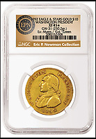 BNPS.co.uk (01202 558833)Pic: HeritageAuctions/BNPS<br /> <br /> $10 coin sells for &pound;1.37 million...!<br /> <br /> A gold coin carrying the face of the first American president George Washington has sold at auction for a staggering &pound;1.37million ($1,740,000).<br /> <br /> The 1792 coin with Washington's profile on the front and an eagle on the back was specially made for him by a firm who were trying to secure the contract to make the first US currency.<br /> <br /> In a rare example of American Presidential modesty in stark contrast to more modern times, Republican Washington declined to have his head on the coinage in case it made him look to much like European royalty.<br /> <br /> A year later, the first coins were introduced in the United States with images of lady Liberty on the front and a bald eagle on the back.