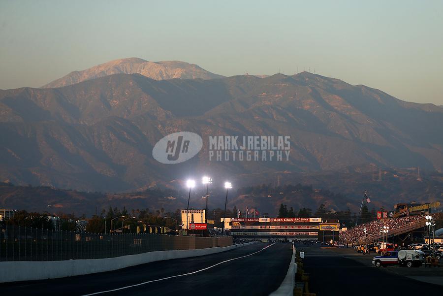 Nov 10, 2013; Pomona, CA, USA; Overall view of Auto Club Raceway at Pomona during the NHRA Auto Club Finals. Mandatory Credit: Mark J. Rebilas-