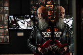 ACDC exhibition at Kelvingrove Art Gallery and Museum - Glasgow - veteran rock dj Tom Russell took time to reminisce with some of the memorabilia - picture by Donald MacLeod - 16.9.11 - clanmacleod@btinternet.com 07702 319 738 donald-macleod.com