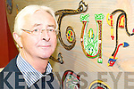 Retired solicitor Paddy Fitzgibbon, Listowel who presented the Listowel Credit Union with a work of art based on the lettering of the Book of Kells.   Copyright Kerry's Eye 2008